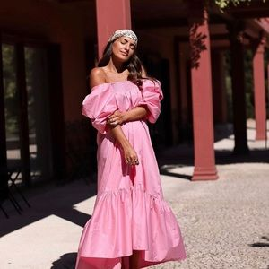 H&M pink puffy sleeve dress